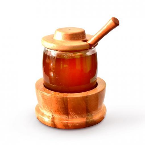 Meleira Gourmet de madeira e vidro com colherzinha de mel